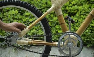 Le vélo en bambou présenté au au Forum mondial de la bicyclette, en Colombie le 27 février 2015.