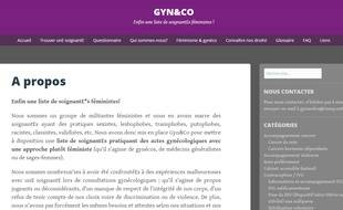 Capture d'écran du blog gyn&co, qui propose une liste de soignants bienveillants.