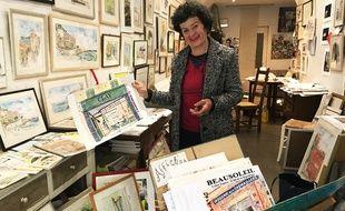 Geraldine Sadlier dans sa boutique sur la place Saint-François de Nice.