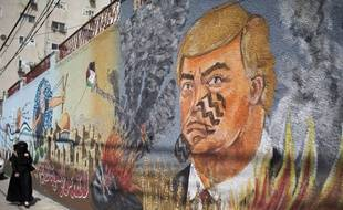 Un graffiti anti-Trump à Gaza, Palestine