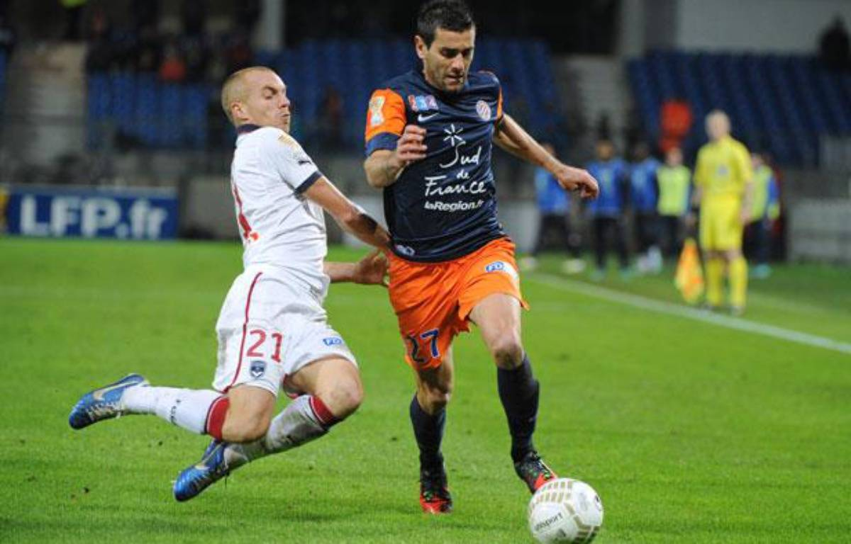 Le défenseur montpelliérain Cyril Jeunechamp, le 31 octobre 2012, contre Bordeaux. – SYLVAIN THOMAS / AFP