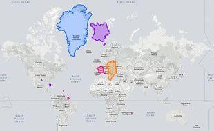 La carte du monde revue et corrigée en taille réelle