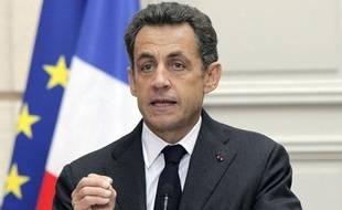Le président Nicolas Sarkozy lors de son discours sur le déficit public à l'Elysée, à Paris, le 28 janvier 2010.