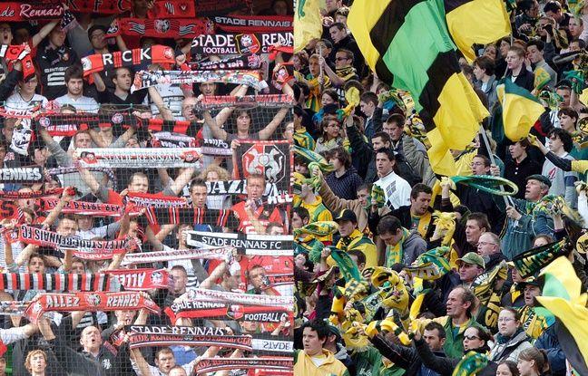 Supporters rennais face aux supporters nantais.