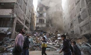 Un immeuble détruit par les frappes israéliennes à Gaza, le 13 novembre 2018.