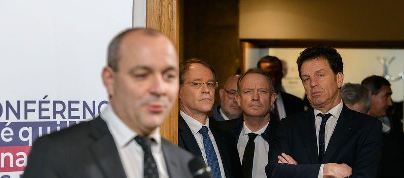 Laurent Berger (Cfdt), Francois Asselin (Cpme) et Geoffroy Roux de Bezieux (Medef) lors d'une conférence de presse sur la conférence de financement de la réforme des retraites le 30 janvier 2020.