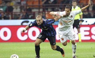 Wesley Sneijder, le 17 septembre 2011 contre l'ASRoma, à Milan.