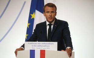 Le président Emmanuel Macron, le 27 août à l'Elysée.