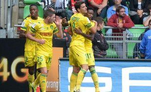 Serge Gakpé et les Nantais fêtent leur victoire, le 20 septembre 2013 à Rennes.