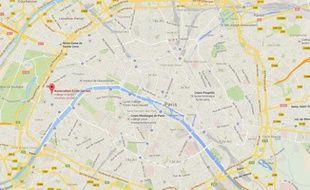 Capture d'écran d'une Google map situant le lycée Gerson, dans le 16e arrondissement de Paris.