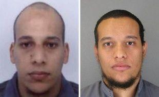 Photos, diffusées le 8 janvier 2015 par la police à Paris, des suspects Cherif Kouachi (g) et son frère Saïd Kouachi (d), recherchés pour l'attentat contre Charlie Hebdo