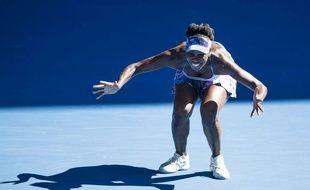 Venus Williams fête sa qualification en finale de l'Open d'Australie le 26 janvier 2017.