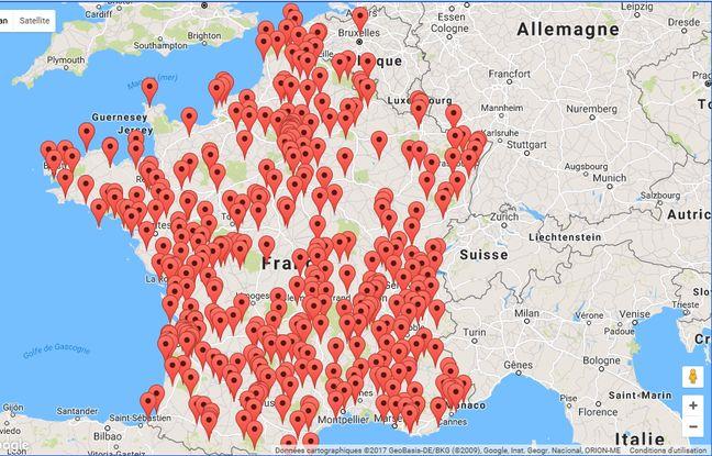 Carte des sites d'observation en France