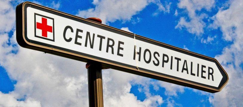 Un panneau, près d'un hôpital (illustration)