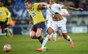 Sochaux, le 2 mars 2016. - Pierre Gibaud et Sochaux ont rhabillé le FC Nantes de Johan Audel en les éliminant en quart de finale de la Coupe de France (3-2 a.p.).