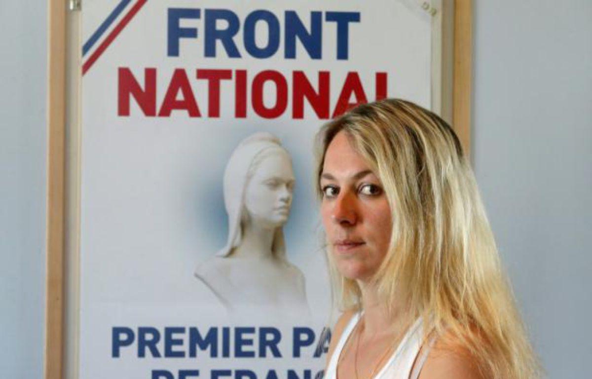 Anne-Sophie Leclère, ancienne candidate FN aux municipales, à Rethel dans les Ardennes, le 16 juillet 2014 – FRANCOIS NASCIMBENI AFP