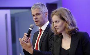 Laurent Wauquiez et Nathalie Kosciusko-Morizet au QG de l'UMP le 5 mai 2015.