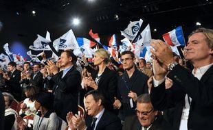 Des militants de Sens Commun le 15 novembre 2014 à Paris, lors d'un meeting avec les candidats à la présidence de l'UMP.