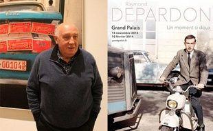 Raymond Depardon au Grand Palais, mardi 12 novembre 2013, et l'affiche de l'exposition.