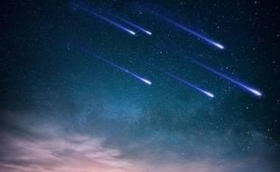 Illulstration d'une nuit avec des étoiles filantes