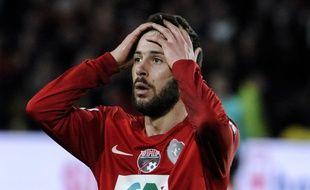 Kevin Rocheteau, l'attaquant des Herbiers, lors de la demi-finale de la Coupe de France le 17 avril 2018.
