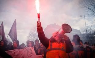 Manifestation contre la réforme des retraites à Paris, le 29 janvier 2020.