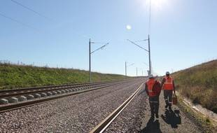 Le chantier de la LGV Bretagne Pays de la Loire, ici en septembre 2015 à hauteur de Châteaugiron, en Ille-et-Vilaine.