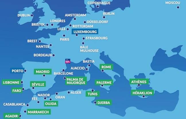 L'offre au départ de Montpellier comporte désormais 53 destinations (en vert, les nouvelles destinations proposées par Transavia).