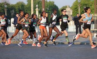 La Française Clémence Calvin lors du marathon de Paris 2019.