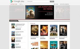 Capture d'écran de la boutique de films du Google Play, lancée le 29 mars 2012.