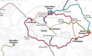 Lignes de RER du Nouveau Grand Paris.