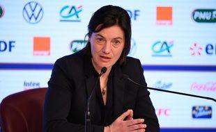 Corinne Diacre en conférence de presse le 26 février 2020.