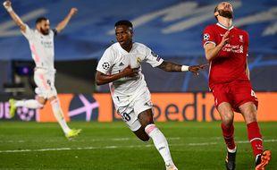 Vinicius a marqué lors de Real Madrid-Liverpool, le 6 avril 2021.