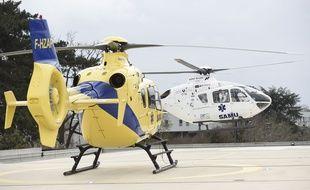 Illustration d'hélicoptères du Samu, ici sur le toit de l'hôpital d'Angers.