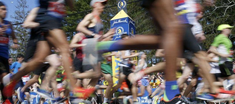 Au départ du marathon de Boston, le 17 avril 2017.