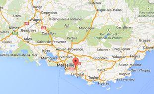 Capture d'écran Google Map Aubagne (Bouches-du-Rhône).