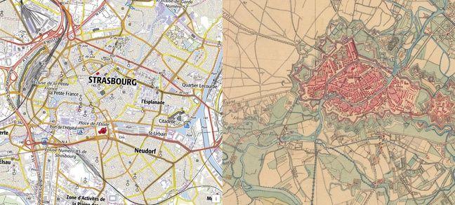 La comparaison entre Strasbourg à l'époque actuelle et Strasbourg à l'époque allemande, au XIXe siècle.