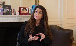 Marlene Schiappa, photographiée dans on bureau de Ministre de l'Egalité le 18 janvier 2018.