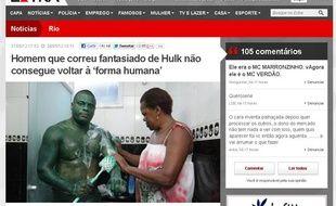 Capture d'écran du supplément «Extra» d'«O Globo» racontant l'histoire du Hulk de Rio de Janeiro.