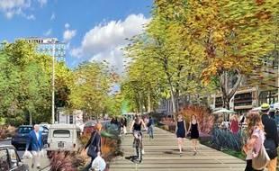 Les riverains souhaitent deux voies pour la circulation automobile, alors que le Grand Lyon en a prévu trois dans son projet.