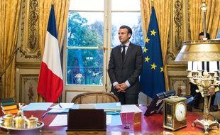 Emmanuel Macron dans son bureau à l'Elysée (illustration).