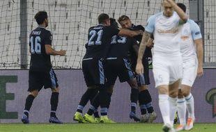 Lucas Ocampos peste après l'ouverture du score de la Lazio.
