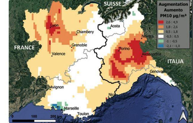 L'évolution des PM10 à l'horizon 2030 sans prise en compte du changement climatique.
