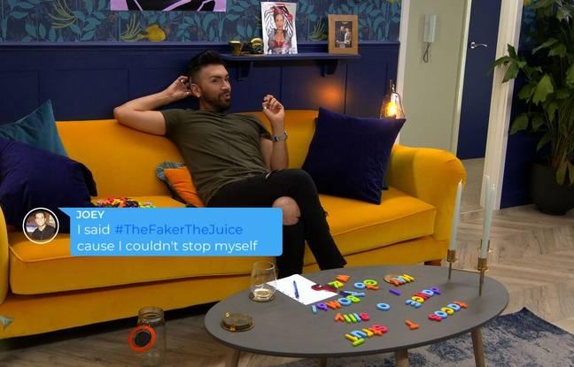 Chris, candidat à la version américaine de The Circle, en pleine discussion avec Joey par écrans interposés.