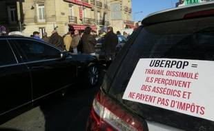 Illustration manifestation de taxis contre Uber Pop.