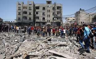 Une maison détruite par un bombardement israélien dans le sud de la bande de Gaza, jeudi 20 mai.