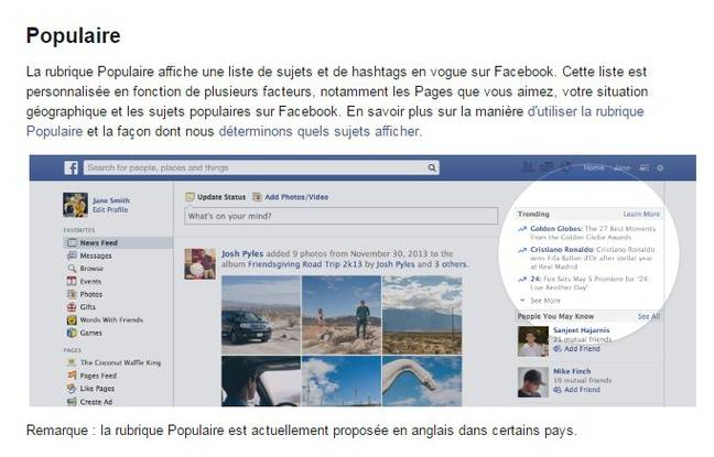 Les «contenus populaires» selon Facebook