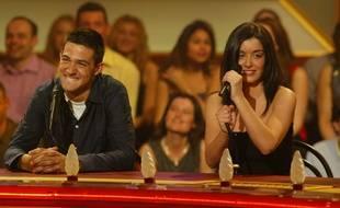 Jean-Pascal et Jenifer dans «La Fureur de la Star Academy» sur TF1, en mars 2002.