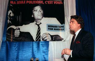 Meeting électoral à Marseille de Bernard Tapie, le 8 décembre 1988.