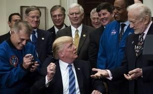Buzz Aldrin et Donald Trump à la Maison Blanche, le 30 juin 2017.